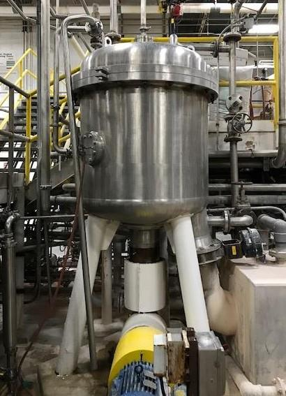 209 Square Foot Schenk Stainless Steel Vertical Tank, Horizontal Leaf Pressure Leaf Filter