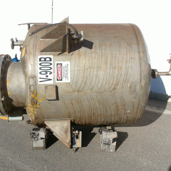 810 Gallon 316L Stainless Steel Vertical Pressure Tank, 5′ Dia. X 4'6″ Straight Side