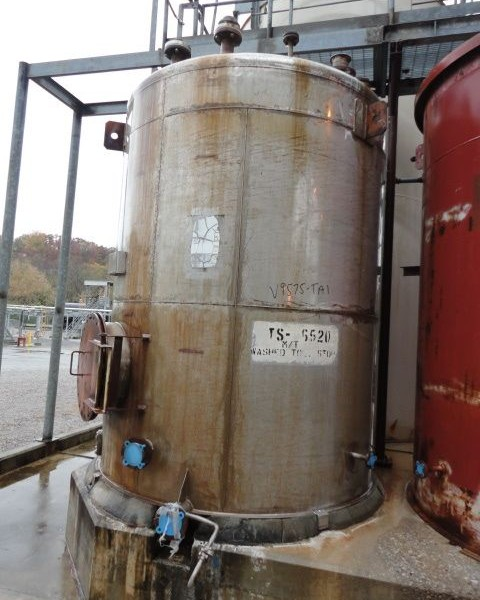 2,500 Gallon 316L Stainless Steel Storage Tank, 7′ Dia. X 9′ Straight Side