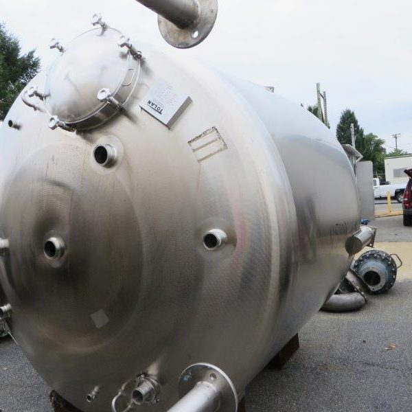 2500 Gallon Tolan Stainless Steel Pressure Storage Tank 100″ Dia x 78″ straight side