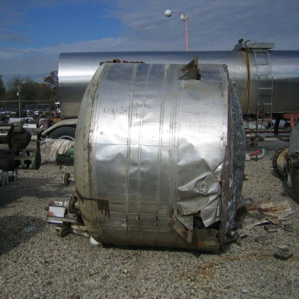 900 Gallon 316 Stainless Steel Jacketed Tank, 6′ Dia. X 4′ Straight Side, 50 PSI