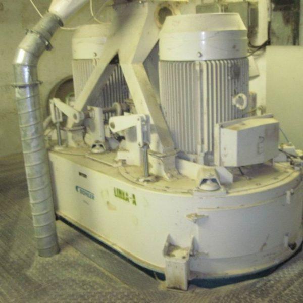 75 KW Buhler Model DFZH 2 Carbon Steel Vertical Twinshaft Hammer Mill