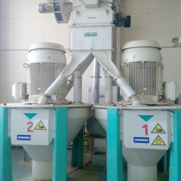 110 KW Buhler Model DFZK 2 Carbon Steel Vertical Twinchamber Hammer Mill