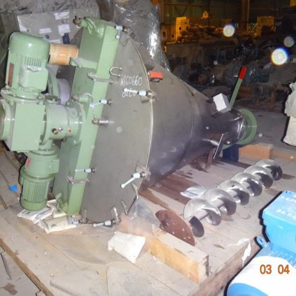 200 Litre Hosokawa Model DBXE-200R Stainless Steel Conical Mixer, Reportedly Unused