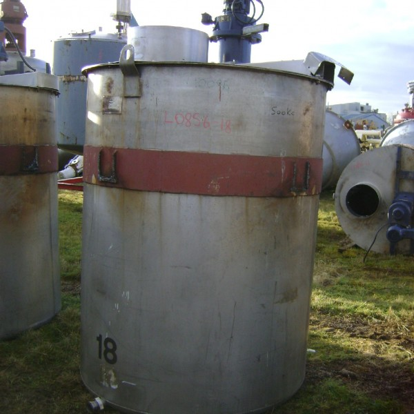 2,500 Litre Stainless Steel Vertical Mixing Vessel, 1300mm Dia x 1900mm Straight Side
