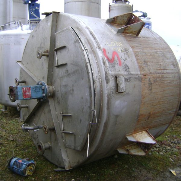 4,200 Litre Websters Stainless Steel Vertical Mixing Vessel, 2080mm Dia x 1470mm Straight Side