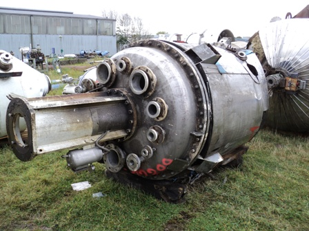 2,000 Litre 316L Stainless Steel Vertical Pressure Vessel, 1300mm Dia x 1400mm Straight Side