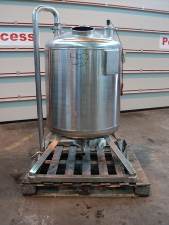 344 Litre 316L Stainless Steel Vertical Agitated Vessel 700mm Dia x 600mm Straight Side
