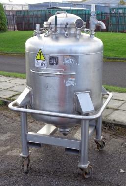 500 Litre Pellegrini Stainless Steel Liquid Tank, 1000mm Dia x 700mm Straight Side