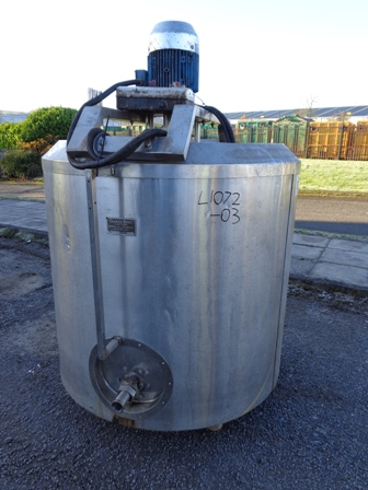 910 Litre Stainless Steel Vessel, 1143mm Dia x 1041mm Straight Side