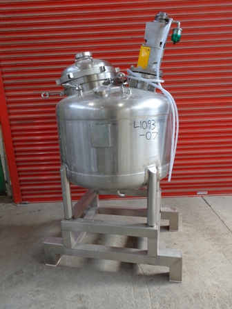 300 Litre 316L Stainless Steel Vertical Mixing Vessel, 900mm Dia x 500mm Straight Side