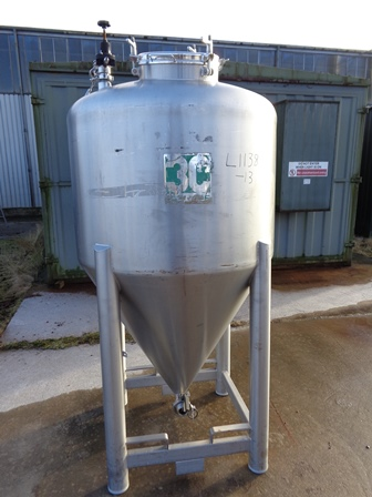1,045 Litre 3C France 316L Stainless Steel Vertical Storage Tank, Little Used, 1000mm Dia x 700mm Straight Side