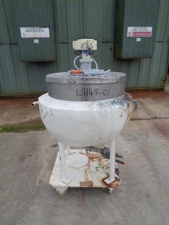 135 Litre Giusti Stainless Steel Jacketed Mixing Pan, 650mm Dia x 200mm Straight Side