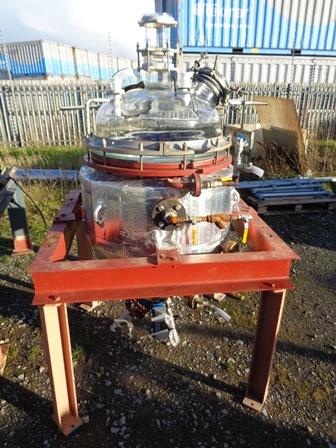 136 Litre, 2.76 Bar Internal, 5.17 Bar Jacket, Pfaudler-Balfour Glass Lined Reactor