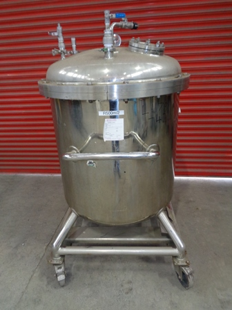 650 Litre Hickey Stainless Steel Vertical Vessel, 914mm Dia x 800mm Straight Side