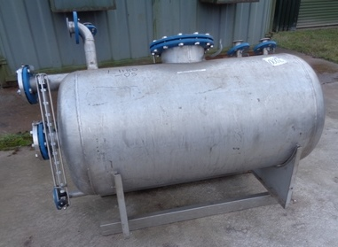 460 Litre Stainless Steel Horizontal Receiver Vessel, 700mm Dia x 1200mm Straight Side