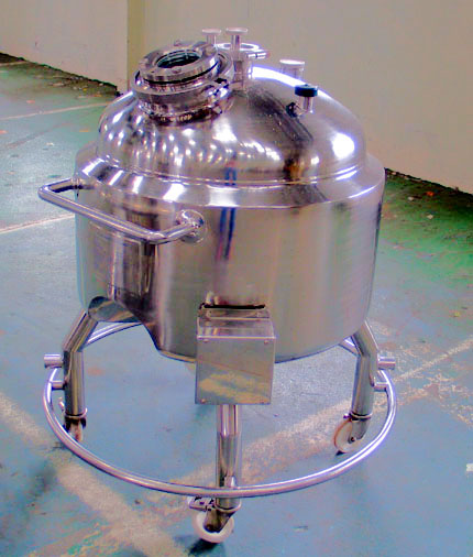 170 Litre Stainless Steel Mobile Receiver Vessel, Unused, 650mm Dia x 350mm Straight Side