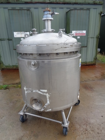 600 Litre Northland Stainless 316L Stainless Steel Vertical Jacketed Mixing Vessel, 900mm Dia x 900mm Straight Side