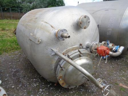 2,500 Litre Forfab Stainless Steel Vertical Vessel, 1500mm Dia x 1350mm Straight Side