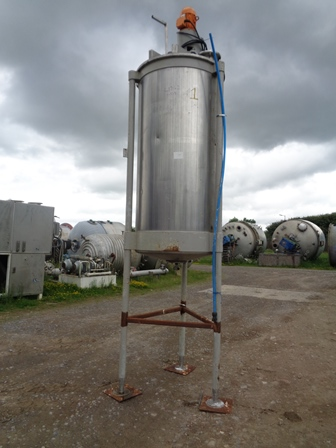 1,700 Litre Stainless Steel Vertical Mixing Vessel, 1000mm Dia x 2150mm Straight Side