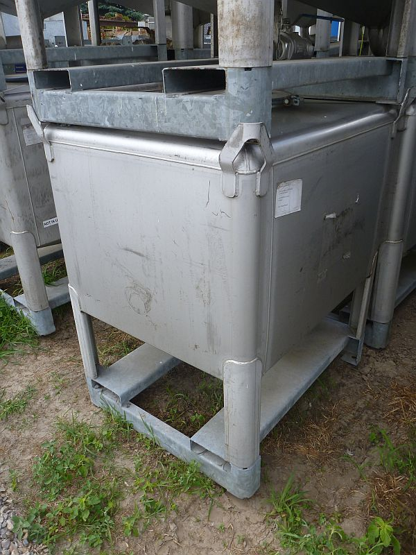 Used 1 030 Litre Gallay Stainless Steel Rectangular Storage Ibc Tank