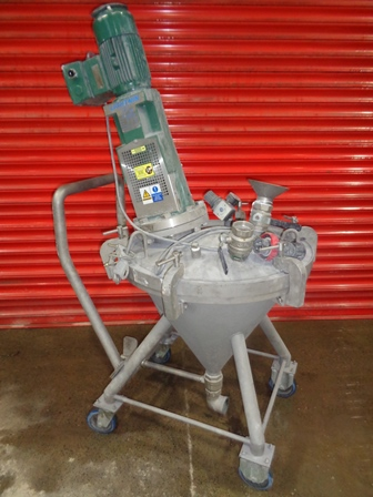 50 Litre Stainless Steel Vertical Mobile Mixing Vessel 600mm Dia x 550mm Cone