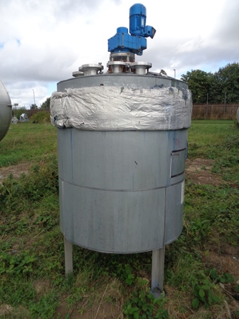 1,490 Litre Stainless Steel Vertical Mixing Vessel, 12000mm Dia x 1018mm Straight Side