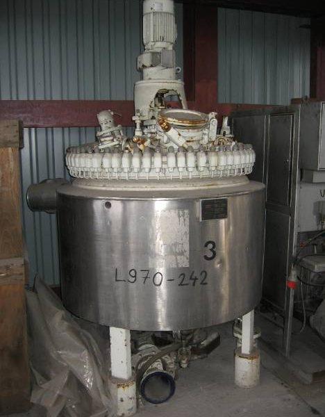 576 Litre, 1 Bar Internal, 6 Bar Jacket, Pfaudler Glass Lined Reactor