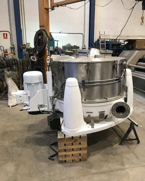 40″ X 20″ Comi Condor 316L stainless steel perforated basket centrifuge