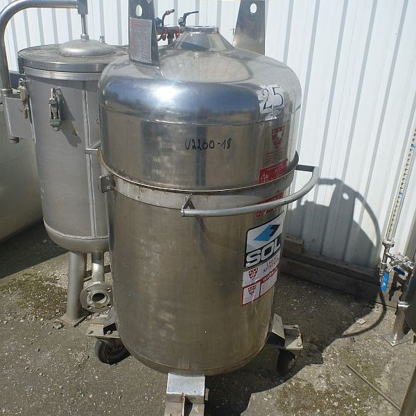 280 Litre Stainless Steel Vertical Storage Tank 640mm Dia x 880mm Straight Side