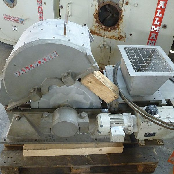 75 KW horizontal hammer mill by Pallmann type PHM 600-350 stainless steel contacts