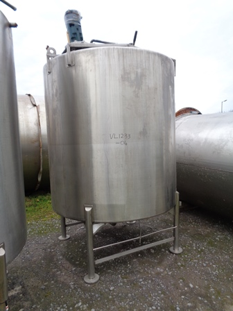 4,500 Litre Giusti 316 Stainless Steel Vertical Mixing Vessel, 1800mm Dia x 1800mm Straight Side